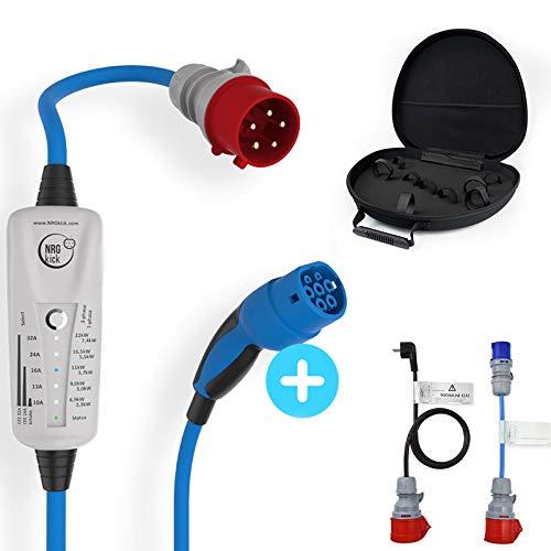 NRGKICK - NRGkick 32A Borne de recharge mobile - Type2-2,3 à 22kW réglable - 5m - Bluetooth - réf. 20219 - NRG-20217+2ADAP+CNT+SAC