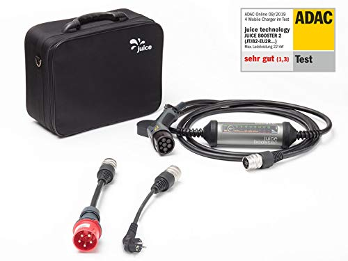 Juice Booster 2 Elektroauto Ladestation 22kW / 11kW Wallbox inkl. Adapter CEE32 und CEE 7/7 (Schuko) (EU) mit Temperaturüberwachung
