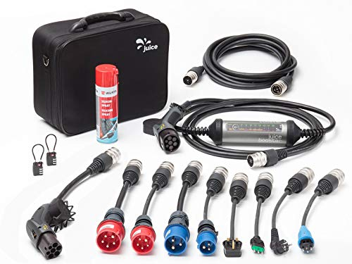Juice Booster 2 Mobile E Auto Ladestation Wallbox 22kW, 11kW - Ladekabel Typ 2 32A 1-Phasig 3-Phasig| Master Traveller Set | inkl. 9X Adapter, Schloss & Verlängerungskabel